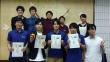 左前方から上野さん、草�gさん、武井さん、菊地さん。サークルメンバーと令和記念大会2019会場にて撮影