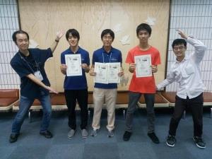 入賞の3名。左から武井さん、上野さん、平井さん。綾瀬2019秋の会場(足立区勤労福祉会館)にて撮影