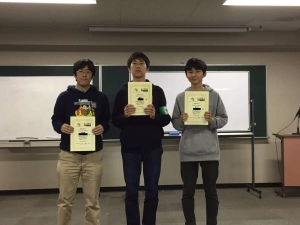 3x3x3片手部門で2位に入賞された上野さん(左端)。京都オープン2019の会場(YIC京都貸し教室